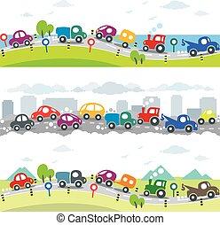 Cars On The Road Seamless Horizontal Pattern Set