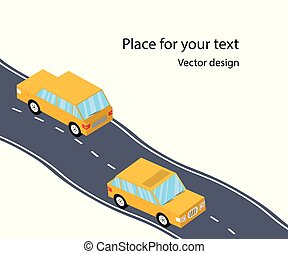 Cars on the road, the highway, flat 3D Isometric style. family trip. Vector illustration with space for text.