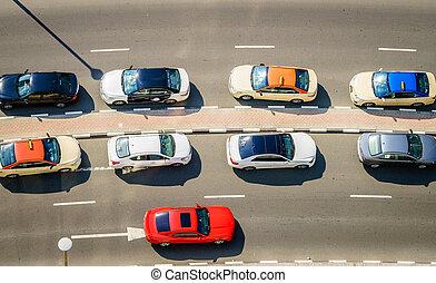 Cars on the street in Dubai