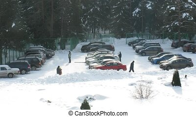 cars on winter parking, time lapse