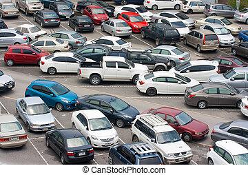 Cars park - BANGKOK - AUG 23: Cars parked at a park and side...