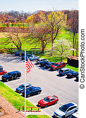 Cars parked at Sandy Hook NJ. It is located in Highlands in...