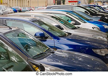 Cars parked in a row