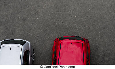 Cars parked in the parking lot. Top view