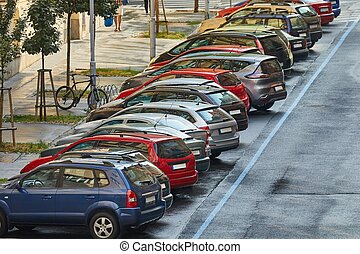 Cars parked ion a street