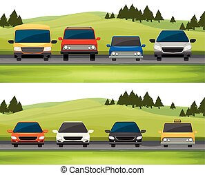 Cars parking on the road