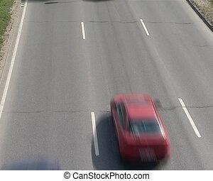 cars pass highway vilnius - cars passing on highway. three...