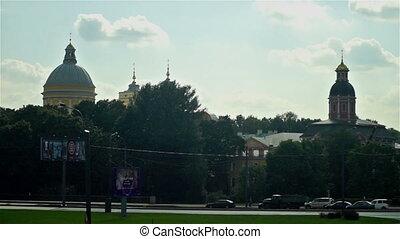 Cars passing by Alexander Nevsky lavra, Saint Petersburg -...