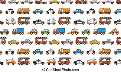 Cars pattern isolated on white in cartoon style