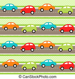 Cars pattern - Seamless pattern with cartoon cars