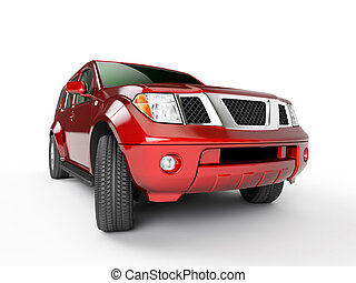 Car\'s presentation - Red car isolaten on white background