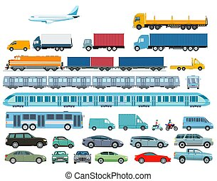 Cars, railroad, and heavy goods vehicle illustration.eps