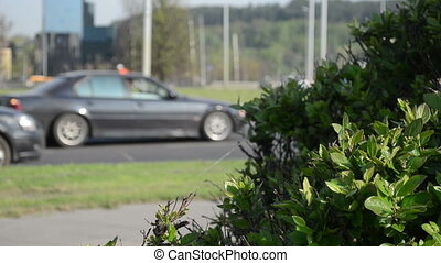 cars roundabout worker - blurred lot of cars drive go on...