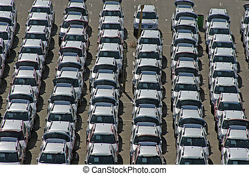 Rows of identical cars