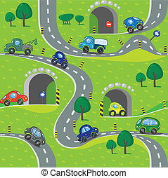 Cars. Seamless pattern. - Seamless pattern of small funny ...