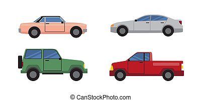 Cars Set of Different Color Vector Illustration