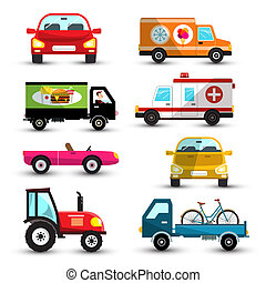 Cars Set. Vector Car Collection Isolated on White Background.