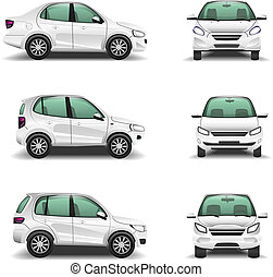 Cars side and front view vector