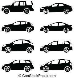 cars silhouette set - Silhouette cars on a white background...