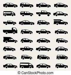 cars silhouette set,  vector icons on gray background
