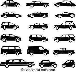 cars silhouettes collection, simple icons - vector