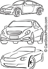 cars silhouettes - expensive car, exclusive convertible, ...