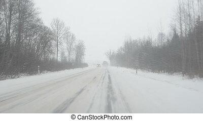 cars slippery rural road
