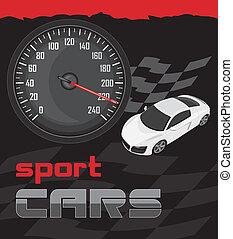cars., sport, projektować, ikona