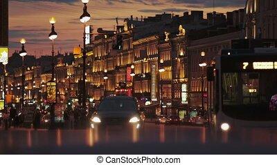 Cars. St Petersburg. Nevsky prospect. - City. St Petersburg...