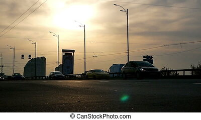 Cars sunset road traffic