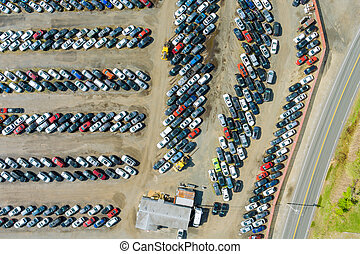 Cars terminal parked a parking in used car auction lot