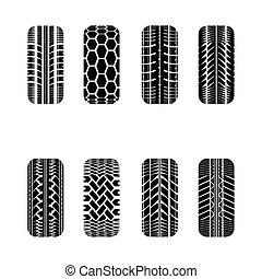 Cars tire tracks - Set of eight cars black tire track...
