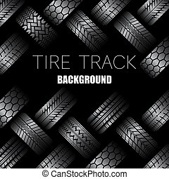 Cars tire tracks with text