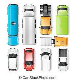 Cars Top View - Realistic cars and trucks top view set ...