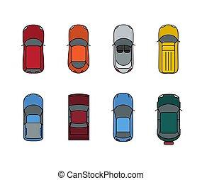 Cars top view set. Flat design style. Vector transport illustration automobile. Traffic car design