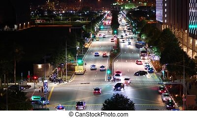 Cars traffic in the city at night