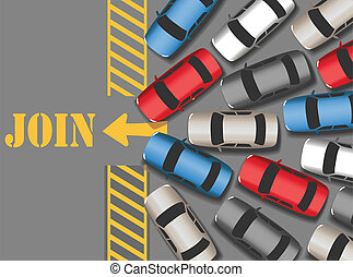 Cars traffic jam to join web site - Visitors cars crowd in ...