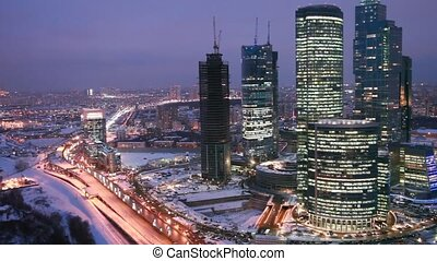 Cars traffic near night wintry Moscow International Business...