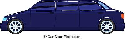 Cars trucks, luxury long transport, VIP vehicle, elegant limousine, design cartoon style vector illustration, isolated on white.