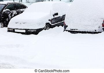cars under fresh snow