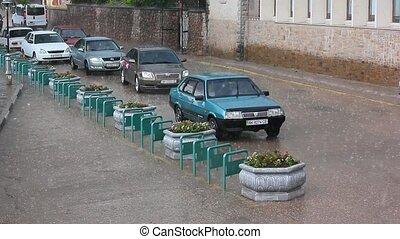 Cars under the rain