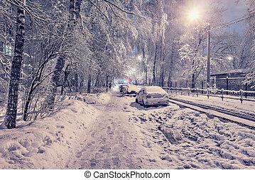 Cars under the snow.