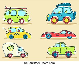 Cars vector images stylized for kids