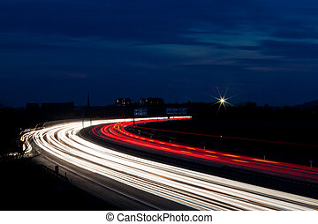 Cars were in the night on a highway