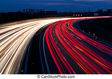 Cars were in the night on a highway - Cars at night on a...