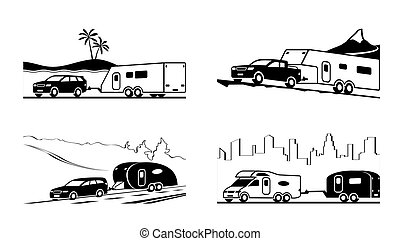 Cars with caravans and camper