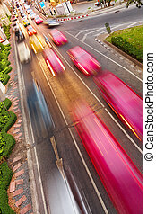 Cars with motion blur