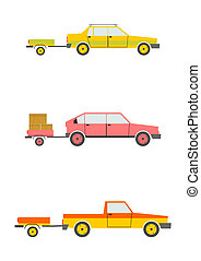 Cars with trailers - Set of cartoon cars with trailers...
