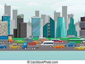 carsharing, 都市, 建物, ベクトル, 都市, 自動車, 通り, イラスト, 通り, デザイン, lane., 都市の景観, 交通, navigation., ∥あるいは∥, 輸送, 自動車
