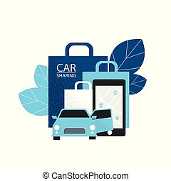Carsharing concept. Rent car for shopping. Vector illustration flat on white background.